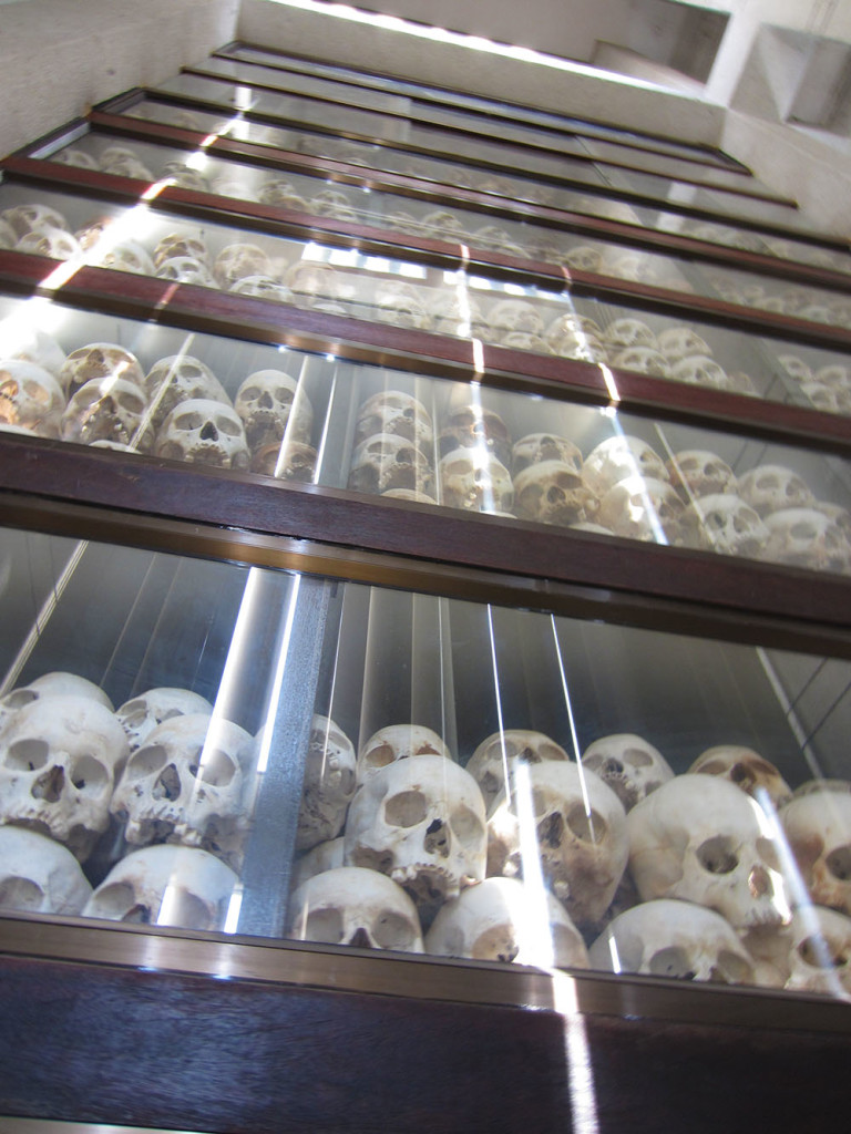 Commemorative stupa filled with the skulls of the victims at the Killing Field outside Phnom Penh.